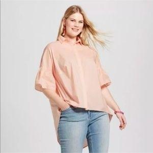 Ava & Viv Plus Size 1X Button Front Top Pink